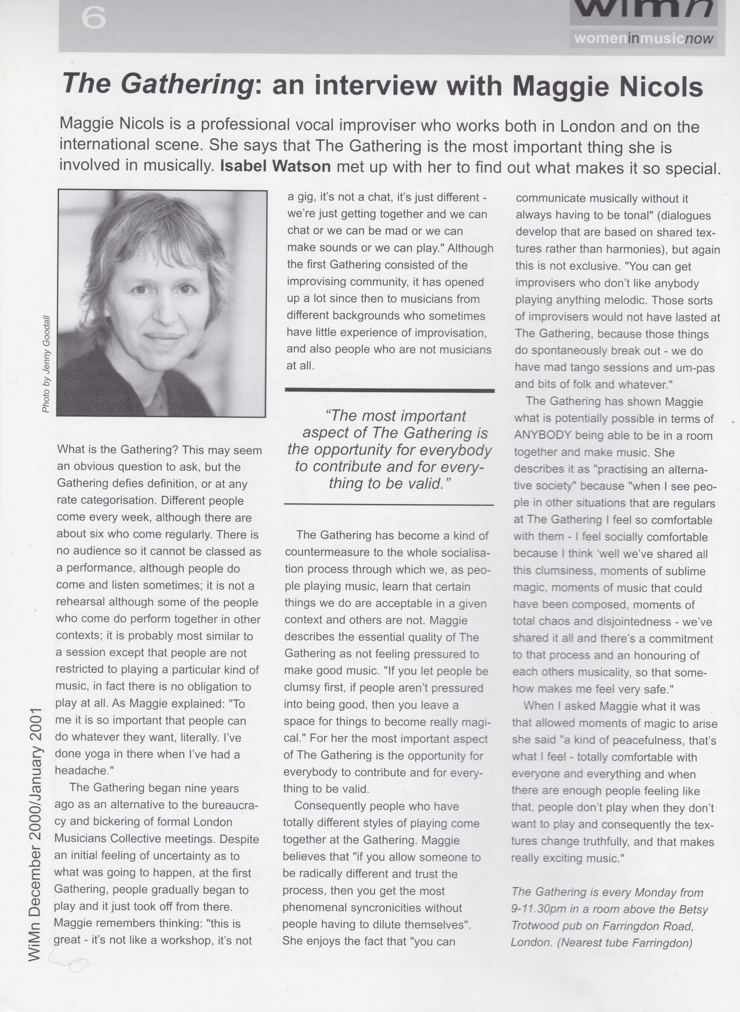 An interview with Maggie Nicols from 2000/2001 about the Gathering