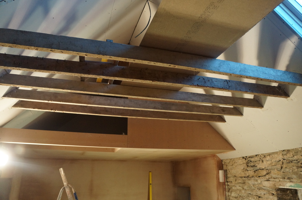 Top of the cottage showing ceiling beams