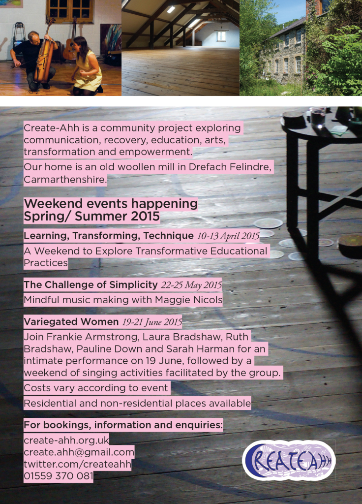 Flier for events happening at the mill Spring/ Summer 2015