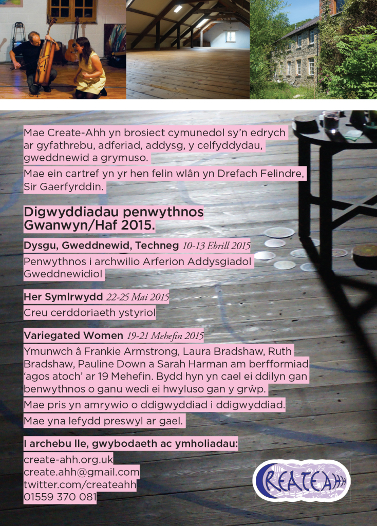 Flier for events happening at the mill Spring/ Summer 2015 - Cymraeg