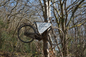 Rusted bicycle suspended from a tree with a sign saying Melin Dolwion