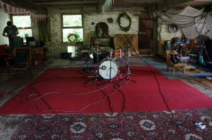 Carriages drum set up in the ballroom