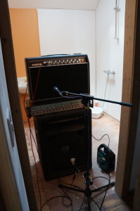 Amps set up in the toilet